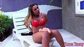 Shemale Thayla Santos masturbates...