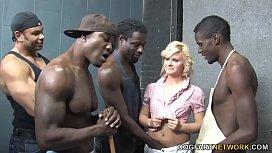 Kelly Surfer Is Getting Gangbanged By 4 Huge Black Dicks
