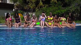 Wild lesbian teen pool...