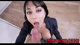 Big tittied milf tugging and sucking stepsons cock pov