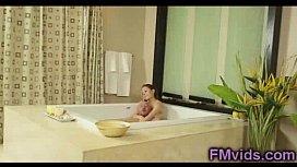 Beautiful brunette bathtub sucking...