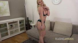 Leggy blonde teases before...