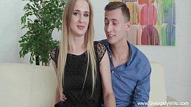 Pale Blonde Czech MILF Tries Swinging