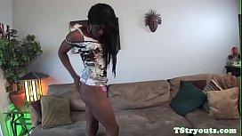 Amateur ebony trans jerksoff...
