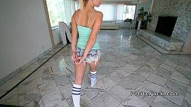Petite pole dancer takes...