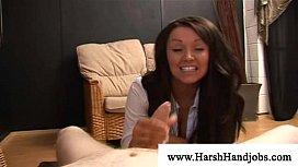 Frustrated brunette slaps a...