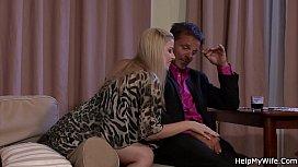 Husband watching his blonde...