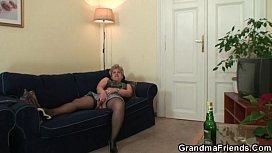 Grandma in black stockings...