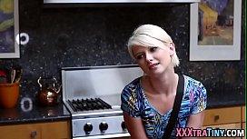 Tiny blonde gets creampie...