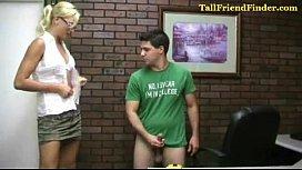 Tall amazon humiliates small...