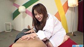 Ria Sakurai blows cock...