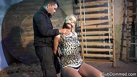 Gagged submissive groped during...