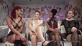Lesbians group strap on...