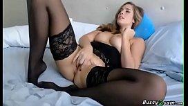 Amateur busty blonde masturbating