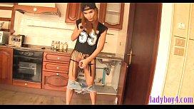 Ladyboy teen plumber with...