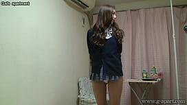 Naked Japanese Madoka wears a Miniskirt School Uniform hord girl