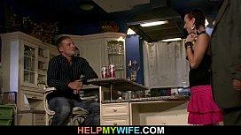 Cuckolding wife opens legs...