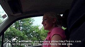 Blonde teen hitchhiker bangs...