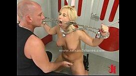 Blond sex slave tied...