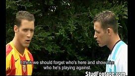 Hot soccer players having...
