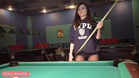 Jeny Smith playing pool...