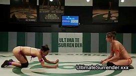 Nude lesbian babes wrestling...