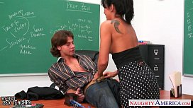 Busty brunette teacher Lezley...