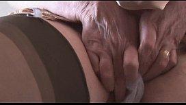Hairy granny in slip...