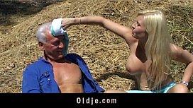 Old farmer man gets...