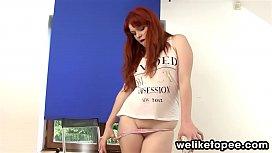 Redhead piss squirting through...