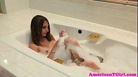 Transwoman in bath pisses...