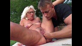Granny fucked outdoor...