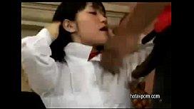 Japanese Schoolgirl in Threesome...