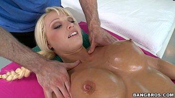 Perfect Blonde Sucks Dick on Massage Table