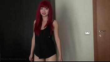 Busty asian redhead 18yo teen fingers herself