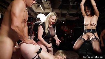 Slaves fucking and sucking at party