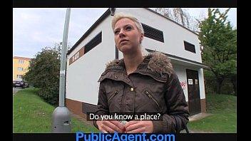 PublicAgent Cute Blonde fucks me in the shop cellar