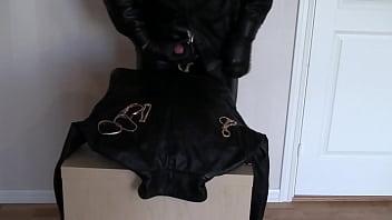 Leather burglar cum on leather