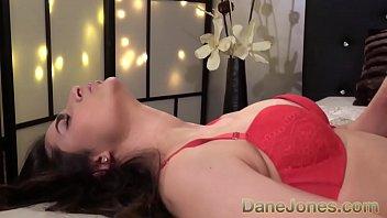 Dane Jones Bubble butt brunette Stacy Sommers sucking cock in red lingerie