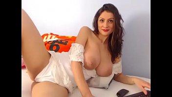 Beautiful woman topless chatting with amazing tits