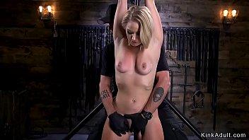 Blonde in strict bondage anally stuffed