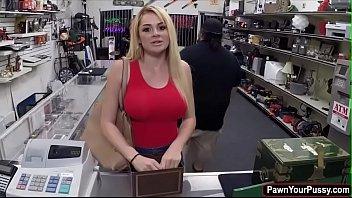 Blonde hottie Skyla Novea gets banged in the pawnshop for cash