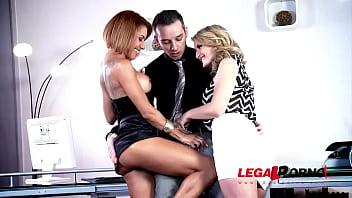 Stud bangs leggy slim hotties Jemma Valentine & Rose Valerie on office desk GP392