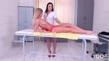 Leggy Lesbian Masseuse Athina Fingers And Licks Leggy Client Lolly Gartner