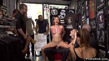 Brunette babe tormented in public shop
