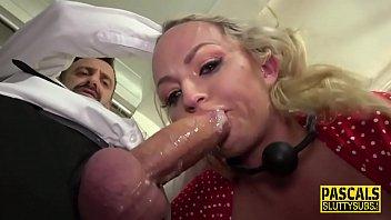 Ballgagged busty milf submissive throats