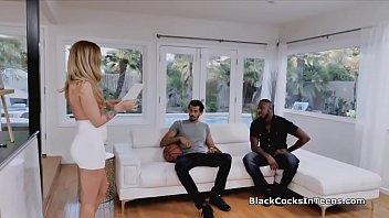 Slutty blonde tutor filled with big black dicks