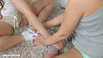 Sexy stretching by Sapphic Erotica - sensual lesbian scene with Leyla Bentho Ker
