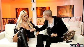 Rockstar trophy wife with huge boobs fucks wannabe stepson