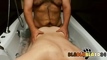 Fucking hard my chubby boy in the hot tub.